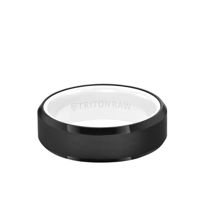 7MM Tungsten Raw Black DLC Ring - Ceramic Interior and Bevel Edge