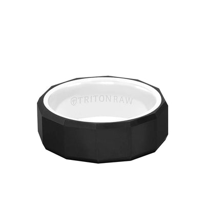 8MM Tungsten Raw Black DLC Ring - Faceted Pattern, Ceramic Interior and Bevel Edge