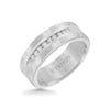 8MM Tungsten Diamond Ring - Channel Set Silver Satin Finish and Round Edge