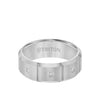 8MM Tungsten Diamond Ring - 3 Stone Vertical Cut Center and Bevel Edge