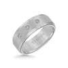 8MM Tungsten Diamond Ring - 3 Stone Satin Finish Center and Bevel Edge