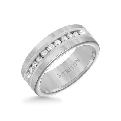 8MM Tungsten Diamond Ring - Channel Set Silver Satin Finish Inlay and Round Edge
