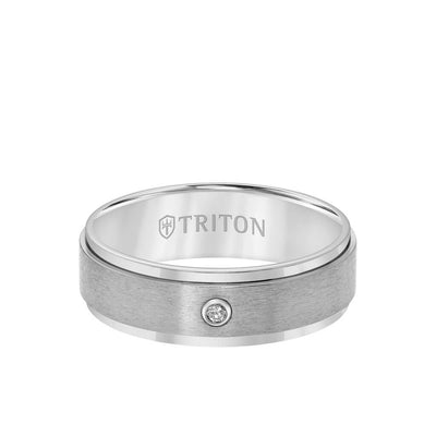 7MM Titanium Diamond Ring - Solitarie Satin Finish and Step Edge