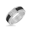 8MM 3 Stone Diamond Black Carbon Fiber Ring with Bevel Edge