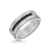 8MM Ring - Channel Set 1/2 ct Black Diamonds Silver Satin Finish and Round Edge
