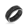 8MM Black Tungsten Carbide Ring - Black Sapphires & Step Edge
