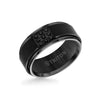 9MM Black Tungsten Carbide Ring - Black Sapphires & Step Edge