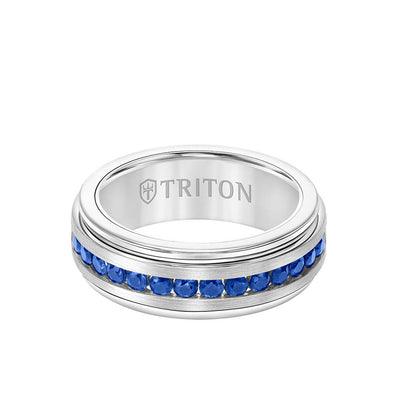 8MM Tungsten Carbide Ring - Blue Sapphires Channel Set Silver Satin Finish