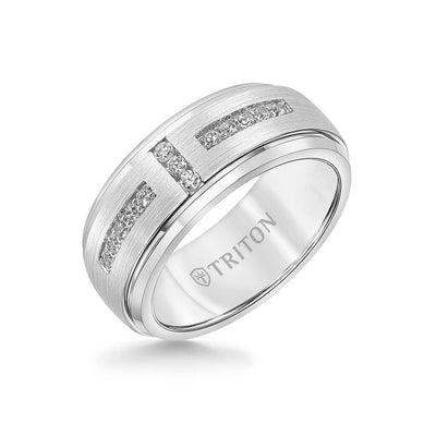 9MM Tungsten Diamond Ring - Channel Set Silver Satin Finish and Bevel Edge