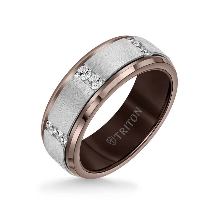 8MM Tungsten Diamond Ring - Vertical Channel Set Silver Satin Finish and Bevel Edge