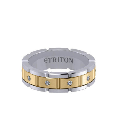 7MM 14K Gold Eternity Diamond Ring - T-Link Design