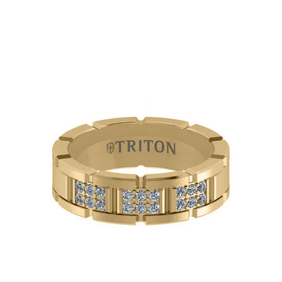 7MM 14K Gold Double Row Diamond Ring - T-Link Design