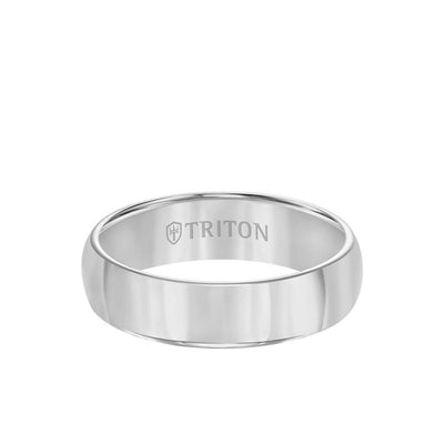 6MM Men's Tungsten Carbide Grey Ring Domed Finish