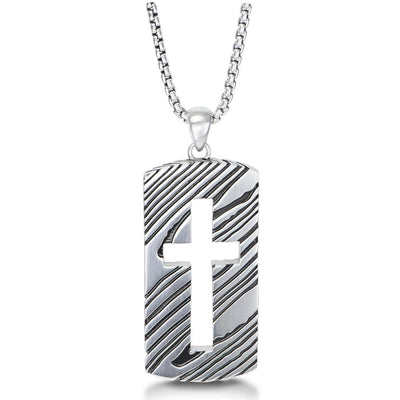 Rogue 26'' Silver Dog Tag Necklace with Cut-out Cross with a Damascus-inspired Pattern