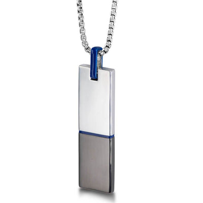 "Silver & Blue Enamel 26"" Dog Tag Necklace"