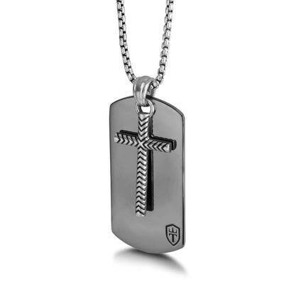 "Black Ruthenium & Silver Dog Tag 26"" Necklace with Cross"