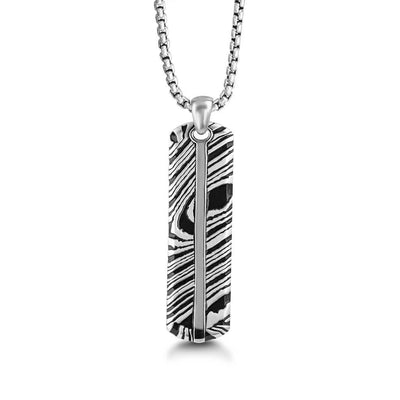 "Silver & Damascus Pattern Dog Tag 26"" Necklace"