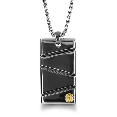 "Silver with Black Ruthenium & Gold Plate 26"" Dog Tag Necklace"