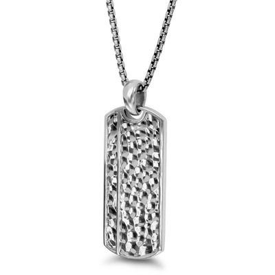 "Silver Dog Tag 26"" Necklace with Hammer Finish"