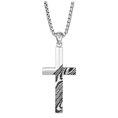 Rogue 26'' Silver Cross Necklace with Damascus-inspired Pattern and Satin-Finish