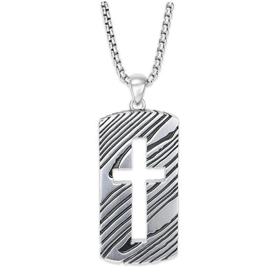 Rogue 26'' Silver Dog Tag Necklace with Cut-out Cross and Satin-Finish with a Damascus-inspired Pattern