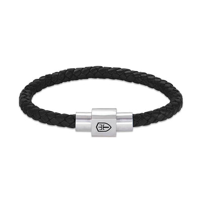 T89 Braided Leather Bracelet with Silver-Satin Magnetic Closure