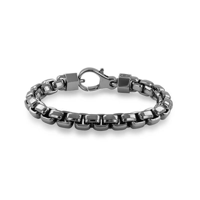 "Silver with Black Ruthenium 8.5"" Box Chain Bracelet"