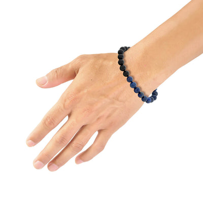 "Blue Lapis & Black Onyx Beaded 8.5"" Bracelet with Black Spinel"