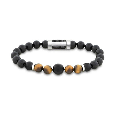 "Brown Tiger Eye & Black Onyx Bead 8.5"" Bracelet with Silver Rondels & Black Spinel"