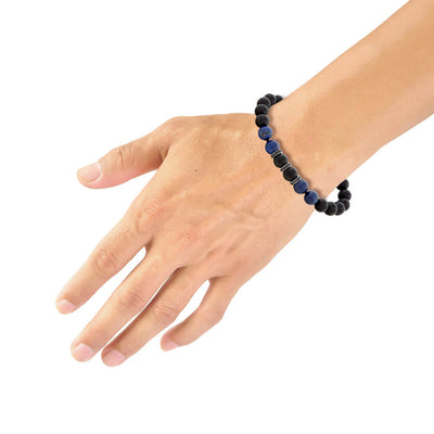 "Blue Lapis & Black Onyx Bead 8.5"" Bracelet with Black Spinel Rondels"