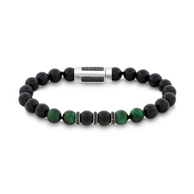 "Green Tiger Eye & Black Onyx Bead 8.5"" Bracelet with Black Spinel Rondels"
