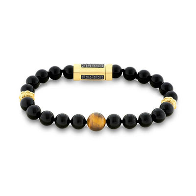 "Brown Tiger Eye & Black Onyx Bead 8.5"" Bracelet with Gold Plated Nugget Rondels & Black Spinel"