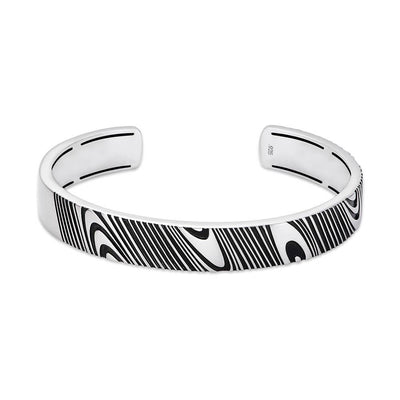 Rogue 10mm Satin-Finish Silver Cuff with Damascus-inspired Pattern