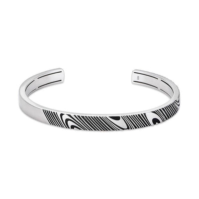 Rogue 7mm Satin-Finish Silver Cuff with Damascus-inspired Pattern