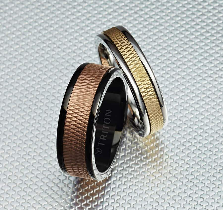 6MM Black Tungsten Carbide Ring - Criss Cross 14K Rose Gold Insert with Round Edge