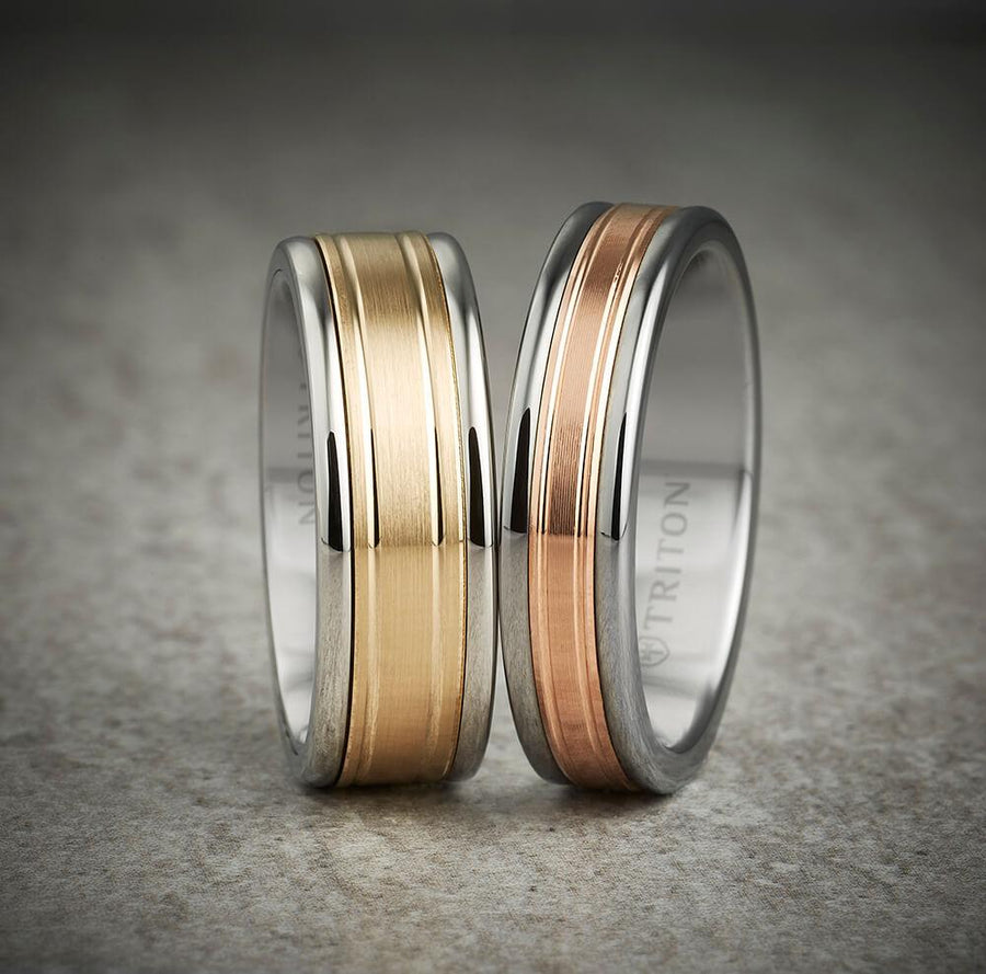 6MM Black Tungsten Carbide Ring - Double Engraved 14K Rose Gold Insert with Round Edge