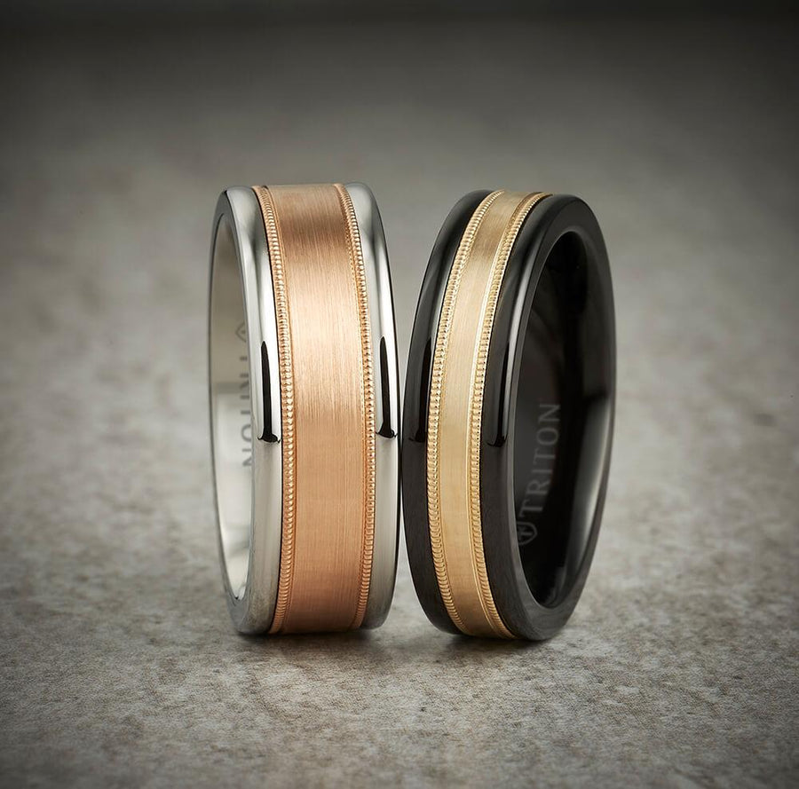 6MM Black Tungsten Carbide Ring - Flat Milgrain 14K Rose Gold Insert with Round Edge