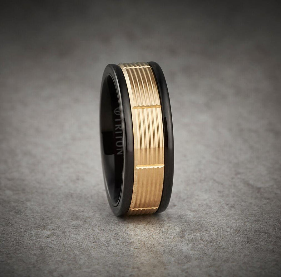 6MM Black Tungsten Carbide Ring - Serrated Vertical Cut 14K Rose Gold Insert with Round Edge
