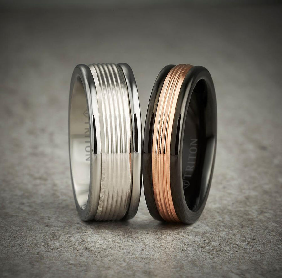 6MM Black Tungsten Carbide Ring - Serrated Engraved 14K Rose Gold Insert with Round Edge