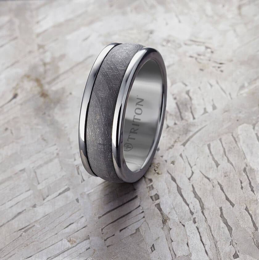 8MM Grey Tungsten Carbide Ring - Meteorite Insert with Round Edge