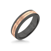 6MM Black Tungsten Carbide Ring - Center Milgrain 14K Rose Gold Insert with Round Edge
