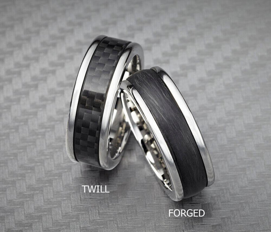 8MM Black Tungsten Carbide Ring - Forged Carbon Fiber Insert with Round Edge