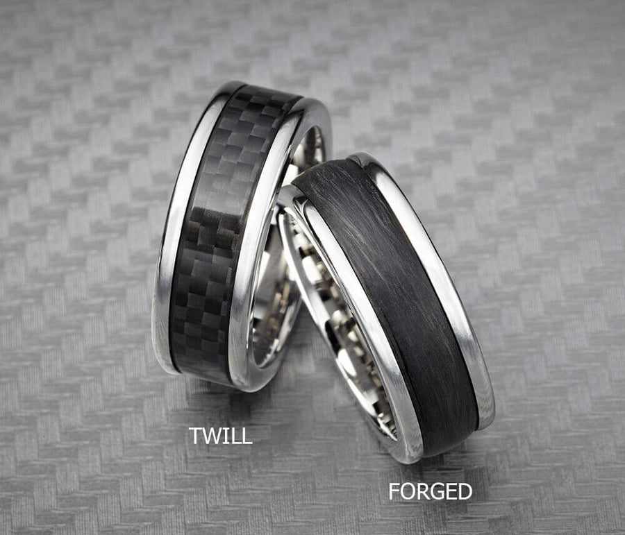 6MM Black Tungsten Carbide Ring - Forged Carbon Fiber Insert with Round Edge