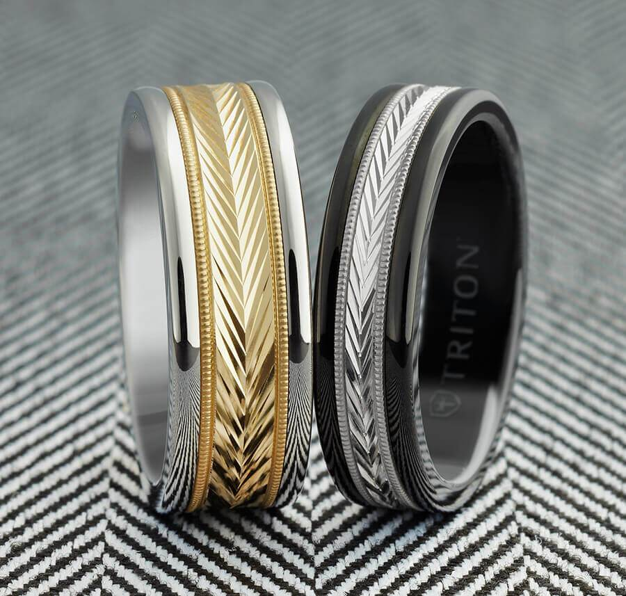 8MM White Tungsten Carbide Ring - Herringbone 14K Yellow Gold Insert with Round Edge