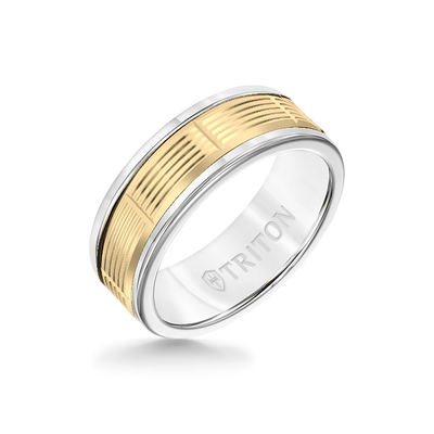 8MM White Tungsten Carbide Ring - Serrated Vertical Cut 14K Yellow Gold Insert with Round Edge