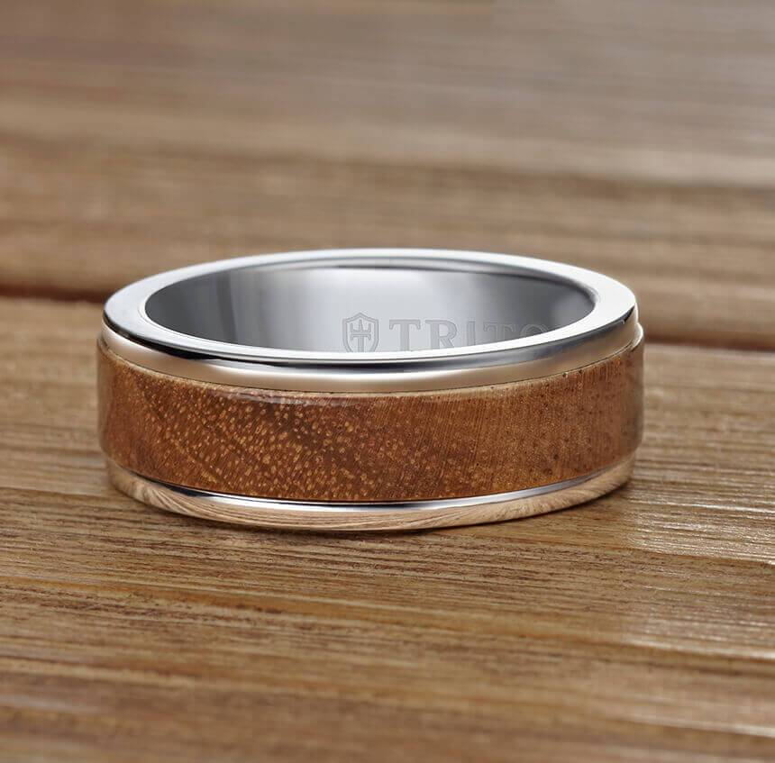 8MM Black Tungsten Carbide Ring - Wood Insert with Round Edge