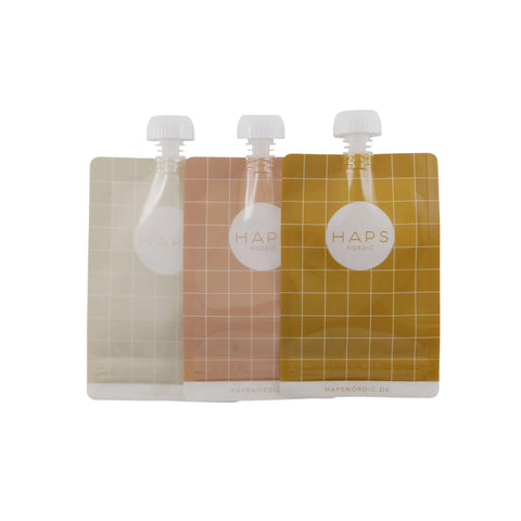 Haps Nordic Reusable smoothie bag 3 pack- Mustard, canada,- Minna.ca