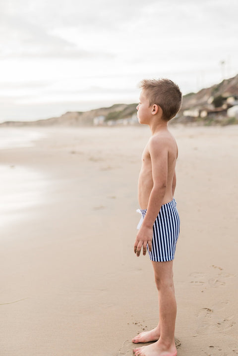"Boys ""Boardies"" Swimsuit - Navy Stripe - Minna Lifestyle Co."