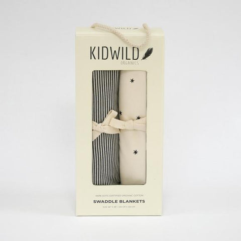 Kidwild Organic Baby Swaddle Blanket Set- Stars and Stripes, canada,- Minna.ca