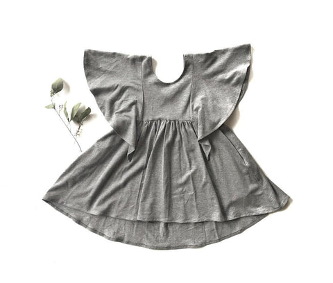 Rose + Doll Tunic Dress - Grey LAST ONE size 4-5T, canada,- Minna.ca